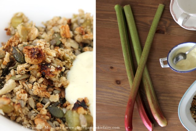 collage vanilla rhubarb crumble granola