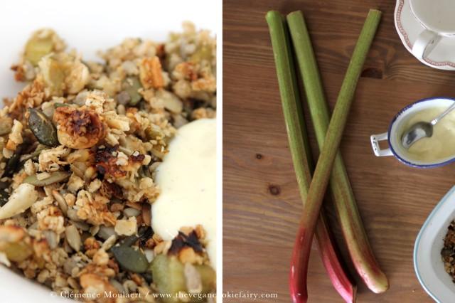 collage vanilla rhubarb crumble granola
