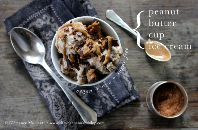 Peanut Butter Cup Ice Cream { vegan + sugar-free + option to make raw}