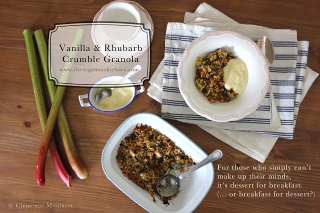 vanilla rhubarb crumble granola title