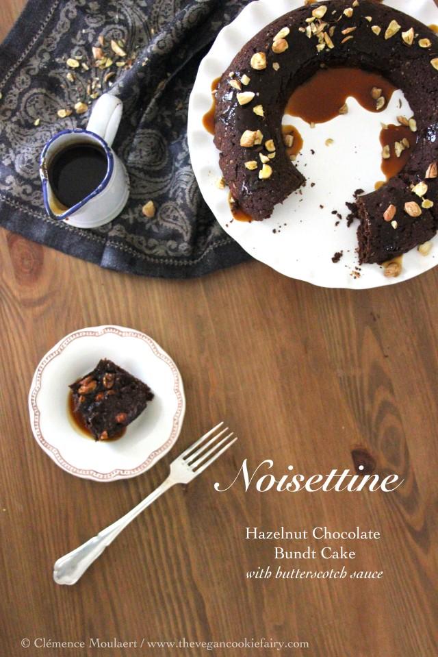 Hazelnut chocolate bundt cake with butterscotch sauce title