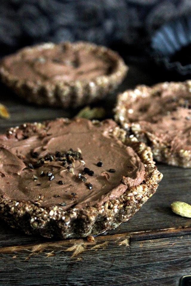 raw vegan cacao + cardamom tartlets