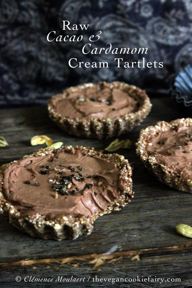 raw cardamom and cacao cream tartlets vegan