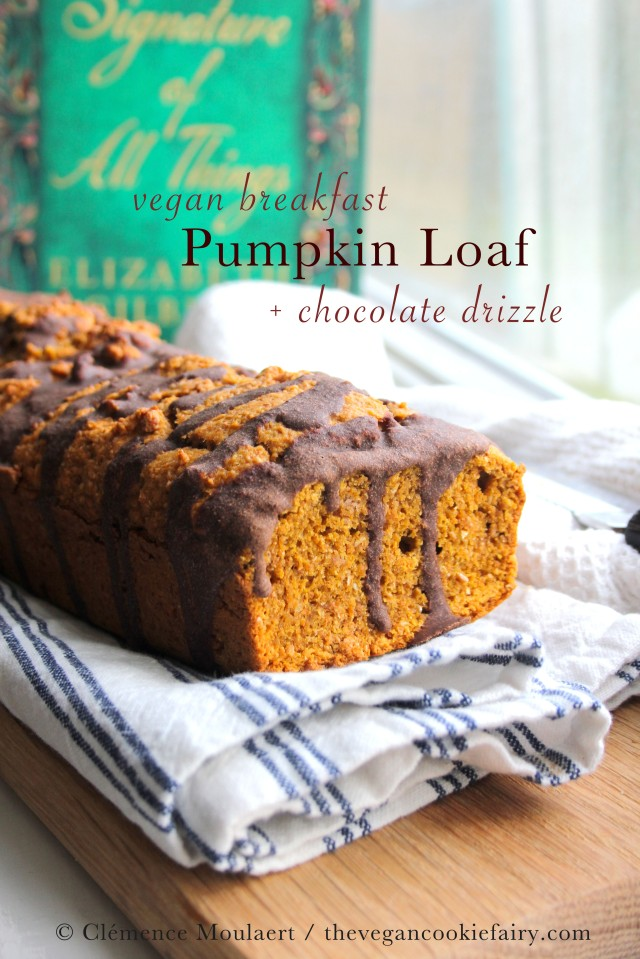 vegan pumpkin breakfast loaf with chocolate drizzle