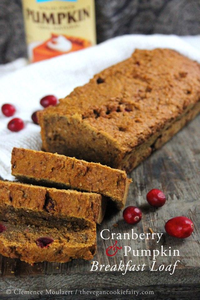 cranberry & pumpkin breakfast loaf #vegan