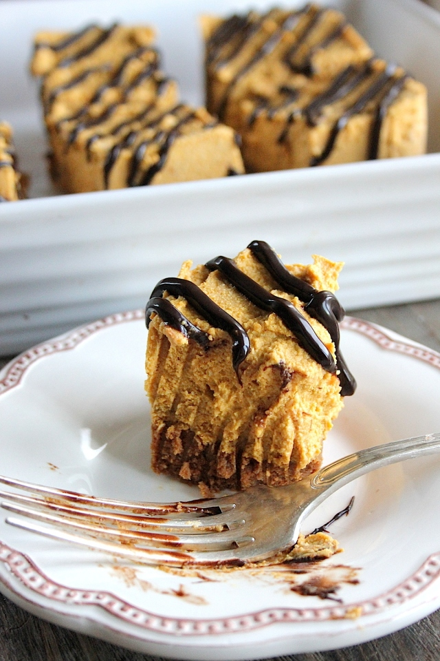Gingerbread Pumpkin Cheesecake Bars with Choc Shot