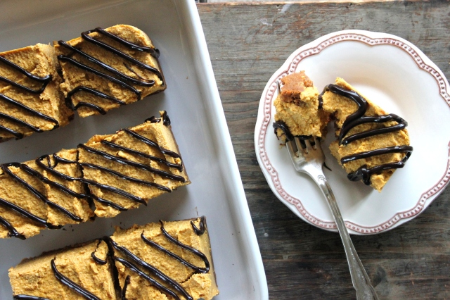 Gingerbread Pumpkin Cheesecake Bars with Choc Shot