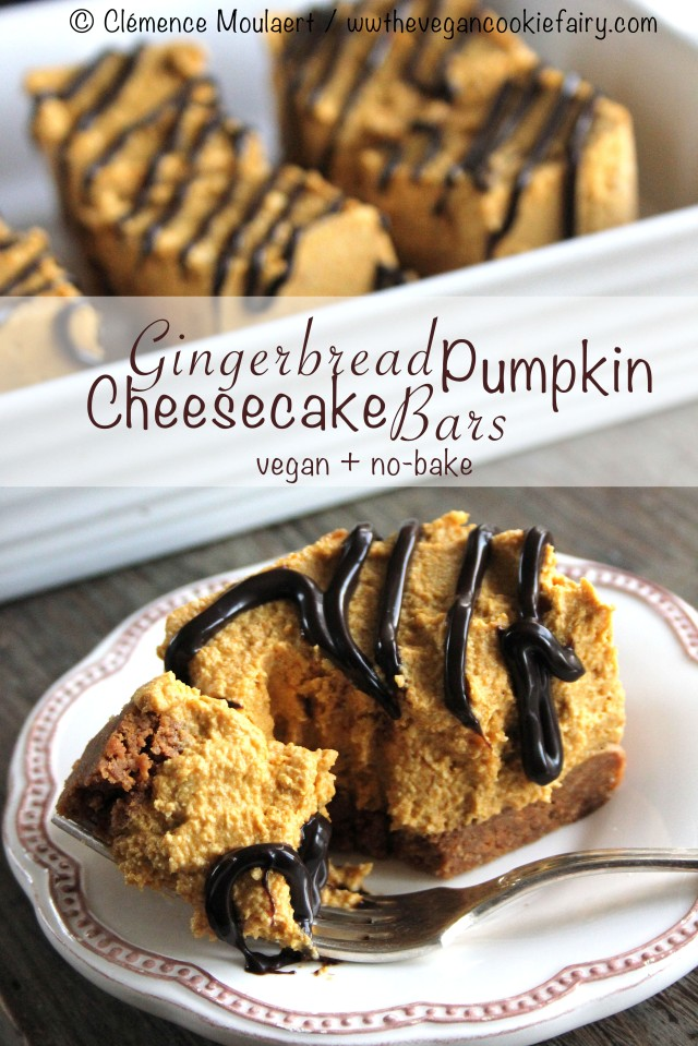 Gingerbread Pumpkin Cheesecake Bars with Choc Shot title