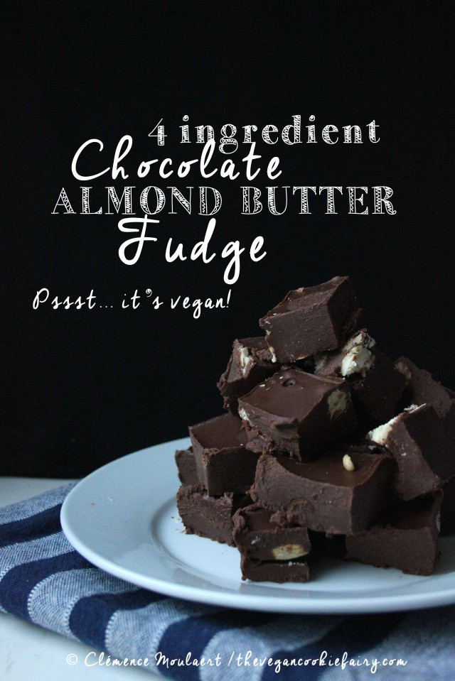 4 ingredient chocolate almond butter fudge TITLE