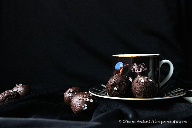 3 ingredient vegan salted chocolate truffles