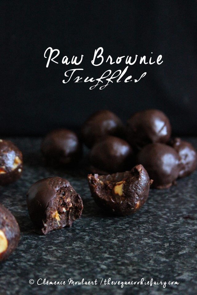 raw vegan brownie truffles