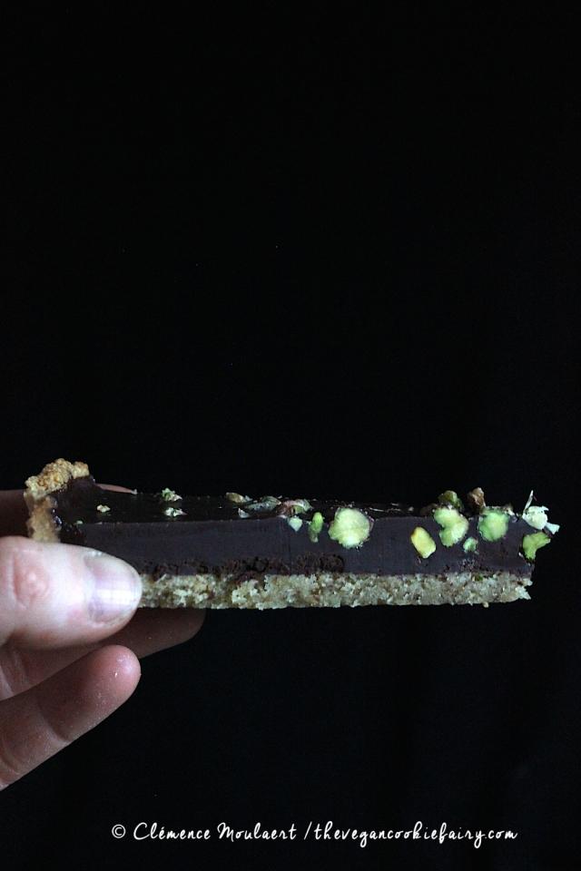 vegan cardamom pistachio chocolate tart