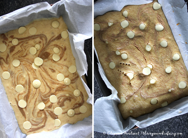 Vegan Peanut Butter Swirl White Choc Button Blondies