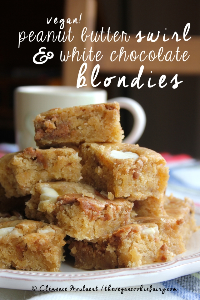 #Vegan Peanut Butter Swirl White Choc Button Blondies