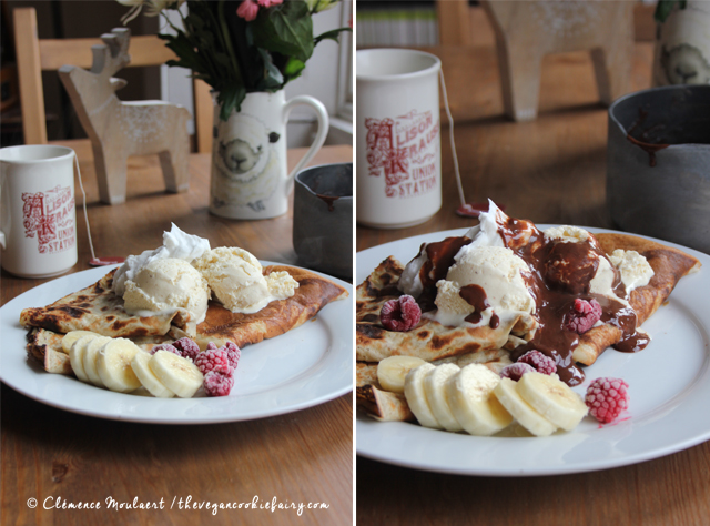 #Vegan Crêpes Mikado - Vanille Ice Cream Whipped Cream Chocolate Sauce | The Vegan Cookie Fairy