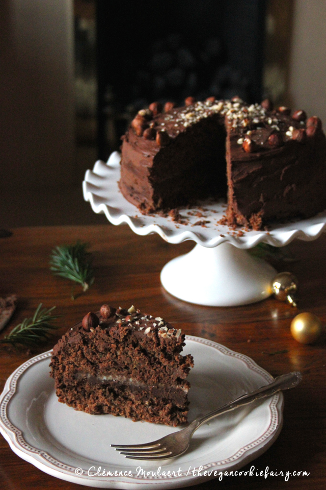 Boozy Hazelnut Chocolate Cake | The Vegan Cookie Fairy | #baking #cake #chocolate #hazelnut #vegan